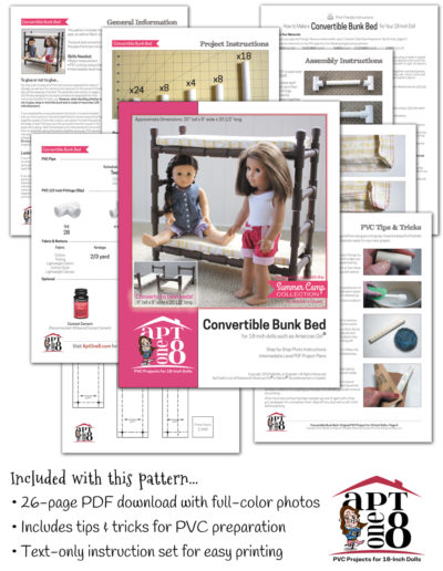 PVC Convertible Bunk Bed plans for 18-inch dolls such as American Girl™