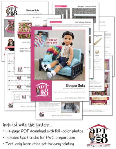 CPVC sleeper sofa pattern for 18-inch dolls such as American Girl™