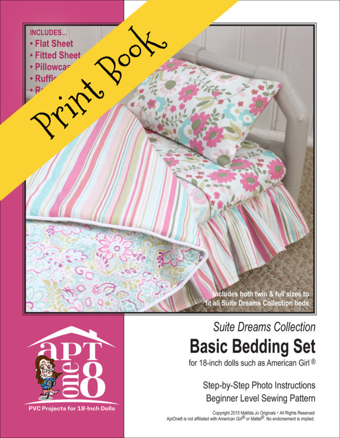 Suite Dreams Collection: Basic Bedding Set sewing pattern for 18-inch doll beds