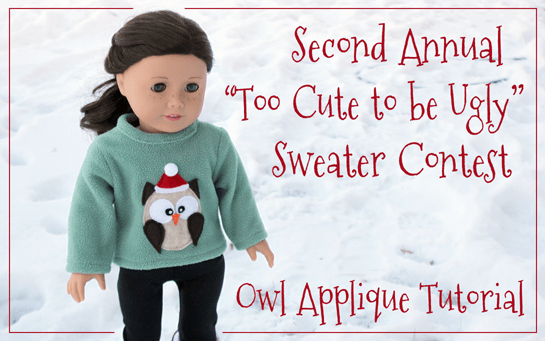 """Applique an Owl on Your Doll's """"Too Cute to be Ugly"""" Sweater"""