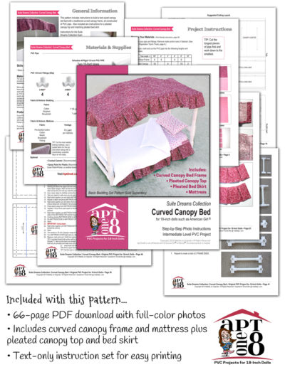 Suite Dreams Collection: Curved Canopy Bed PVC pattern for 18-inch dolls such as American Girl™