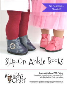 Slip-On Ankle Boots sewing pattern for 18-inch dolls such as American Girl™