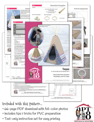 Teepee PVC pattern for 18-inch dolls such as American Girl™
