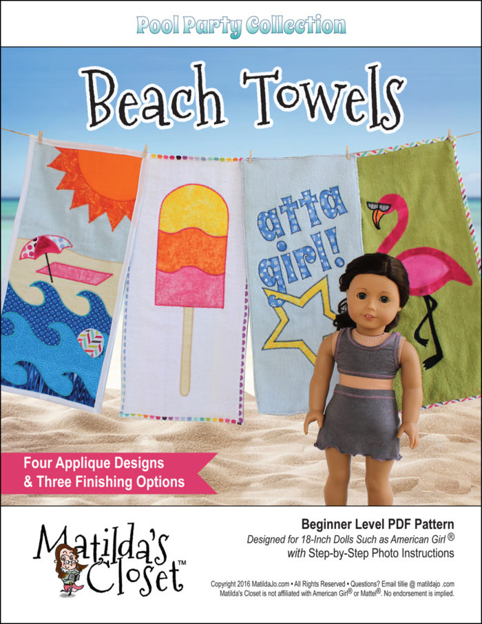 Appliqued Beach Towel Pattern for 18-inch dolls