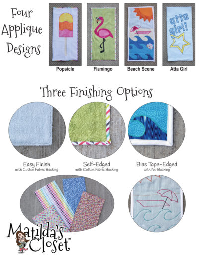 Free applique beach towel sewing pattern for 18-inch dolls such as American Girl™
