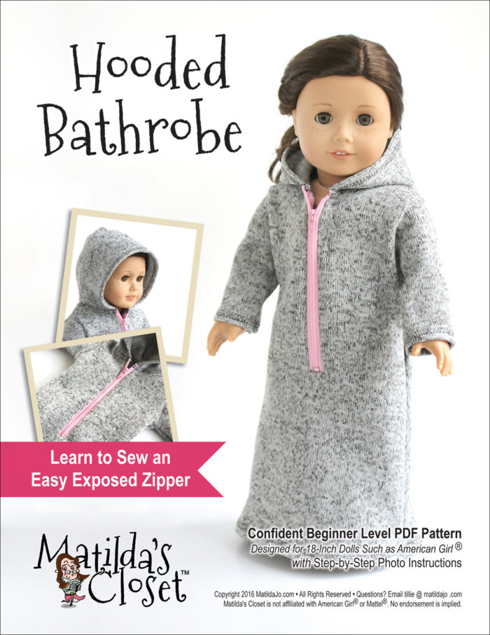 Hooded bathrobe sewing pattern for 18-inch dolls such as American Girl™