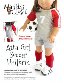 Atta Girl Soccer Uniform sewing pattern for 18-inch dolls such as American Girl™