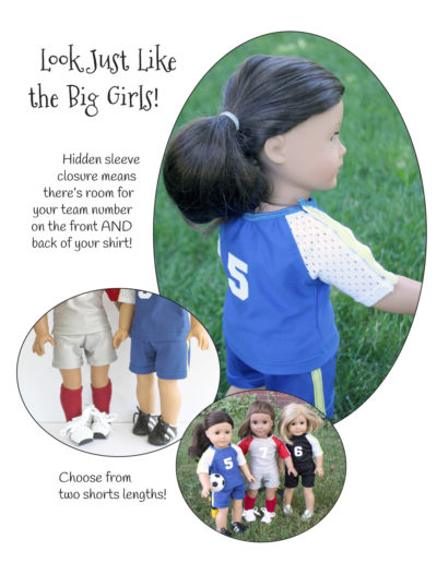 Atta Girl Soccer Uniform sewing pattern designed to fit 18-inch dolls such as American Girl™
