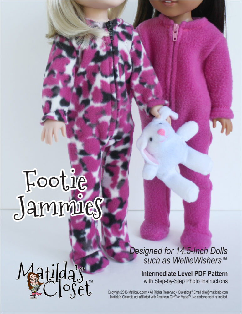 Footie Jammies doll sewing pattern for 14.5-inch dolls such as WellieWishers™