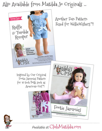 How to make doll clothes - Footie Jammies doll sewing pattern for 14.5-inch dolls such as WellieWishers™