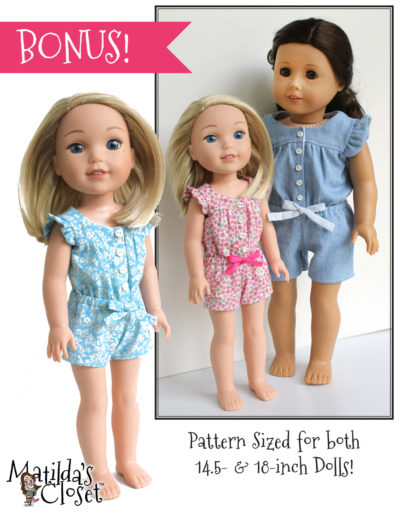 Summer Camp Collection: Ruffle & Tumble Romper sewing pattern for 18-inch dolls such as American Girl™ and 14.5-inch dolls such as WellieWishers™