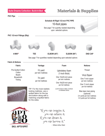 Build-A-Bed PVC Sewing Pattern for 18-inch dolls