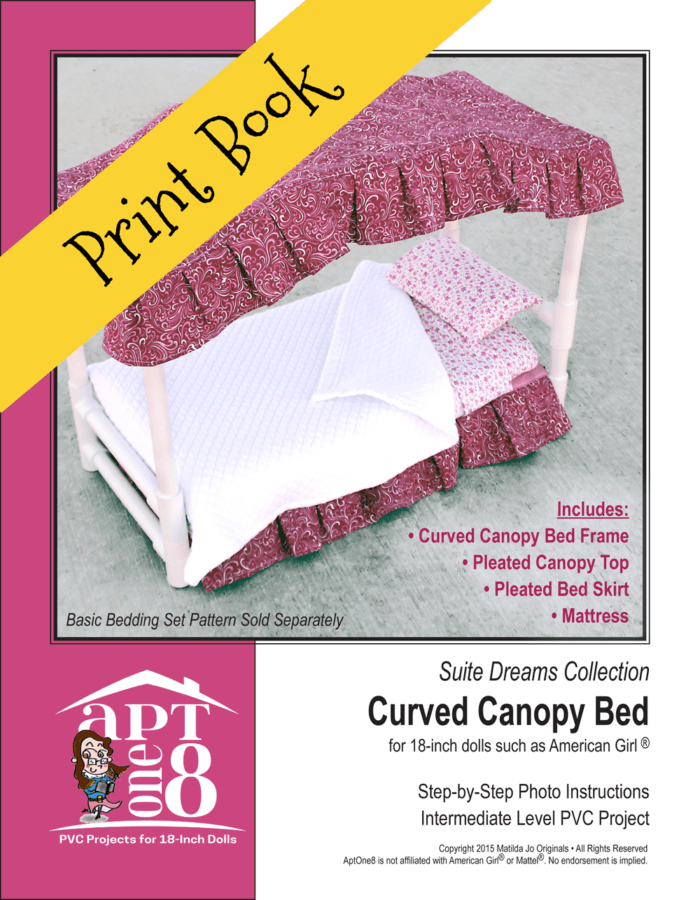 Curved Canopy Bed PVC Sewing Pattern for 18-inch dolls