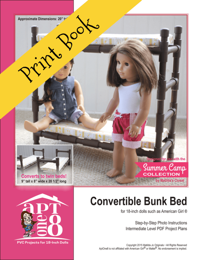 Convertible Bunk Bed PVC Sewing Pattern for 18-inch dolls