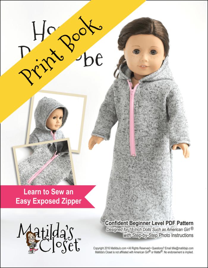 Hooded Bathrobe Sewing Pattern for 18-inch dolls