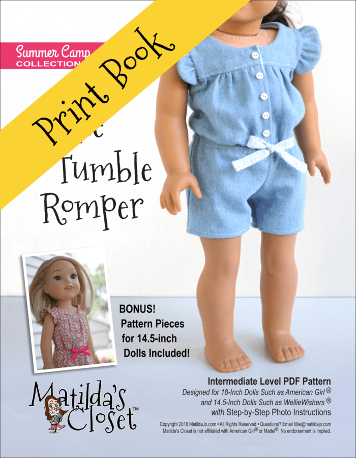 Ruffle & Tumble Romper Sewing Pattern for 14.5 and 18-inch dolls