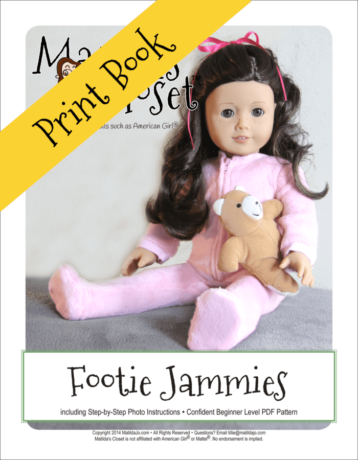 Footie Jammies Doll Sewing pattern for 18-inch dolls such as American Girl™