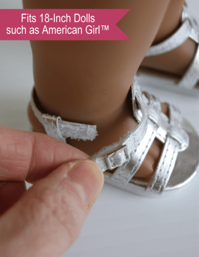 ilver Strappy Sandals for 18-inch dolls
