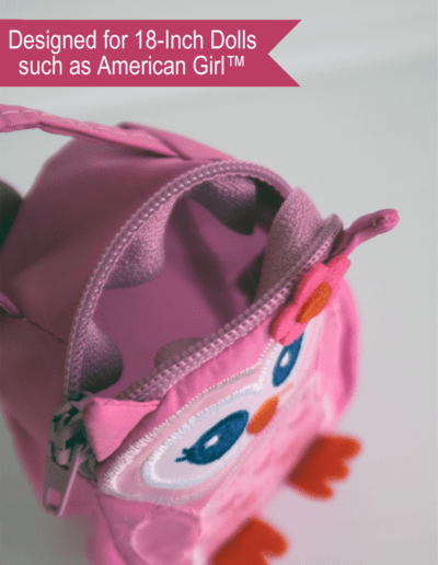 Pink Owl Fabric Lunch Bag for 18-inch dolls