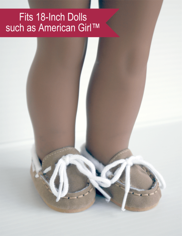 Suede Moccasin Slippers for 18-inch dolls