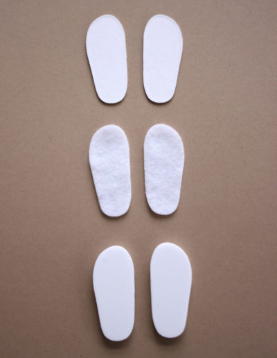 Die-cut soles to make shoes to fit 14.5-inch dolls such as WellieWishers™