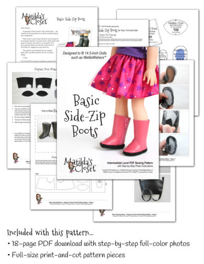 Basic Side-Zip Boots sewing pattern designed to fit 14.5-inch dolls such as WellieWishers™