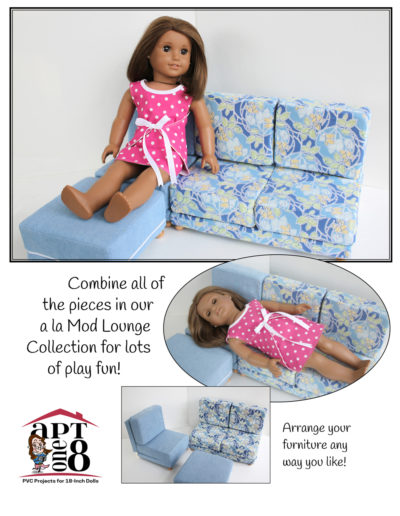 a la Mod Lounge Collection - PVC furniture patterns for dolls such as WellieWishers™ and American Girl™