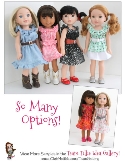 A 'Lil Bit Country: Dress, Top, Skirt & Belt Set sewing pattern for 14.5-inch dolls such as WellieWishers™