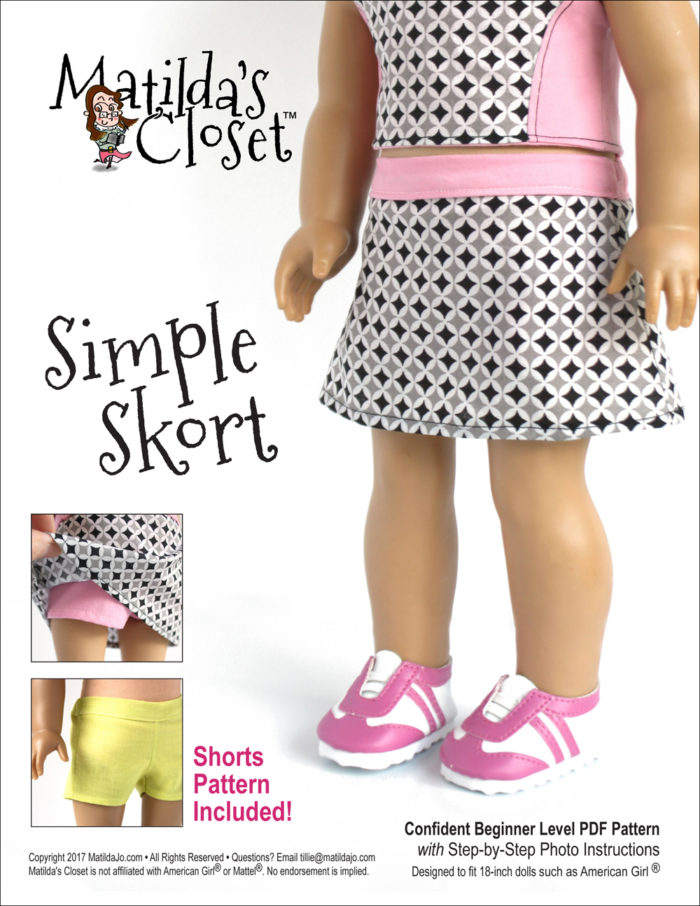 Simple Skort sewing pattern designed to fit 18-inch girls such as American Girl™