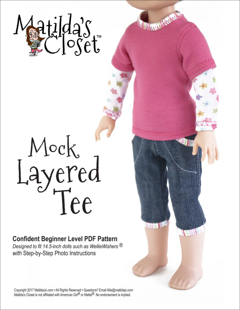 Mock Layered Tee sewing pattern for 14.5-inch dolls such as WellieWishers