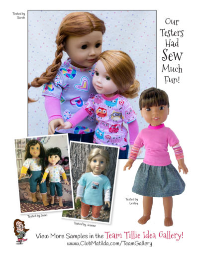 Mock Layered Tee sewing pattern for 18-inch dolls such as American Girl™