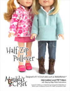 Half-Zip Pullover sewing pattern for 14.5-inch dolls such as WellieWishers™