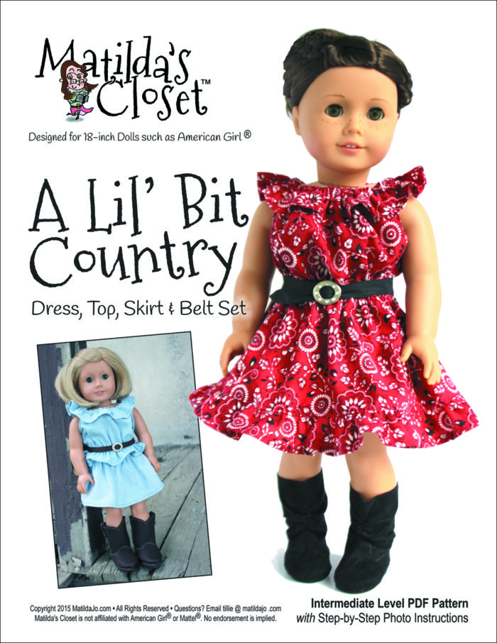 A 'Lil Bit Country: Dress, Top, Skirt & Belt Set Pattern for 18-inch dolls such as American Girl™