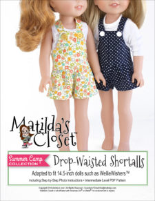 Drop-Waisted Shortalls sewing pattern for 14.5-inch dolls such as WellieWishers™