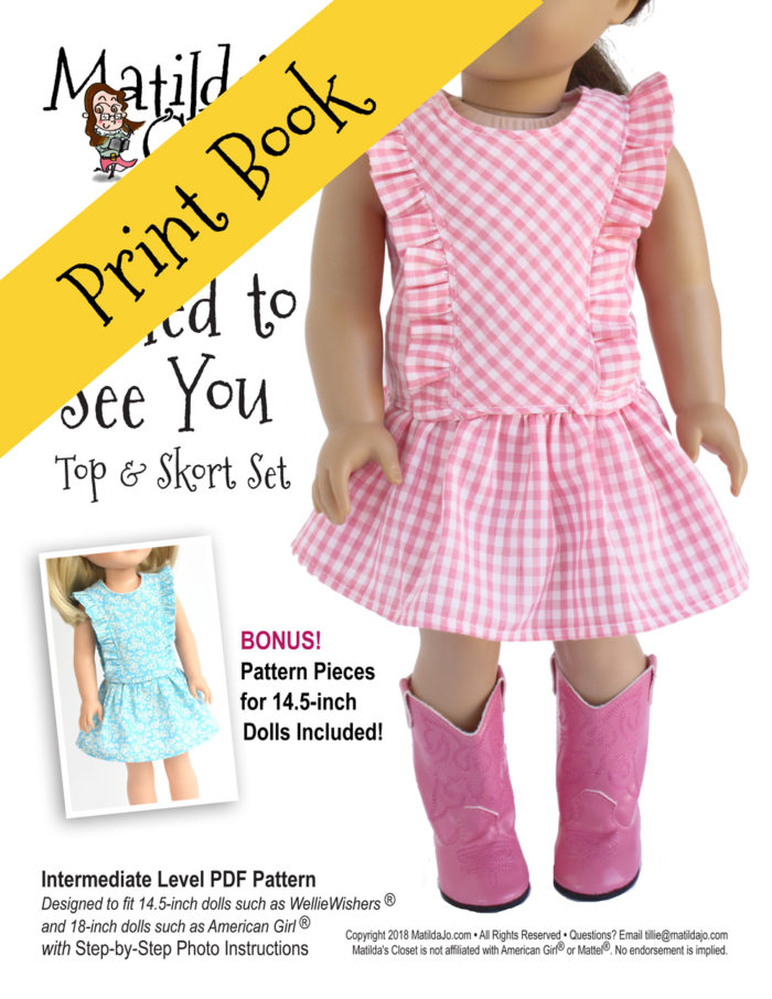 Frilled to See You Top and Skort Set sewing pattern for 14.5-inch dolls such as WellieWishers™ and 18-inch dolls such as American Girl™
