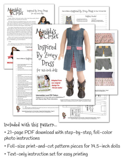 Inspired By Zooey Dress sewing pattern designed to fit 14.5-inch dolls such as WellieWishers™