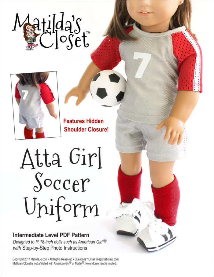 Atta Girl Soccer Uniform pattern for 18-inch dolls such as American Girl™