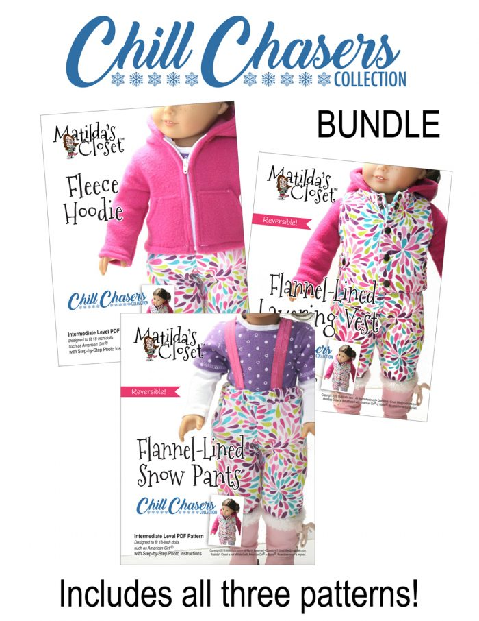 Chill Chasers Collection sewing pattern bundle for 18-inch dolls such as American Girl™