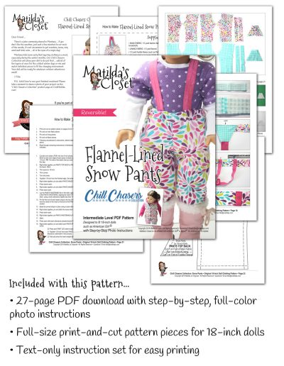 Reversible snow pants doll sewing pattern for 18-inch dolls such as American Girl™
