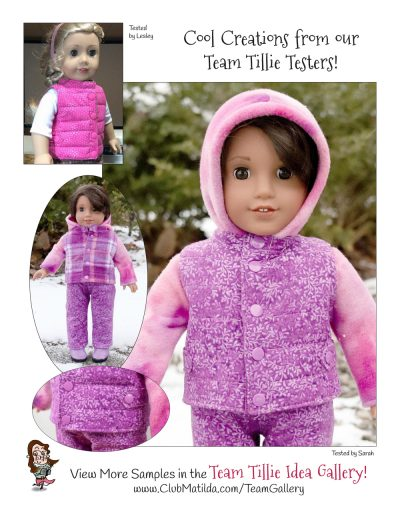 Reversible layering vest doll sewing pattern for 18-inch dolls such as American Girl™