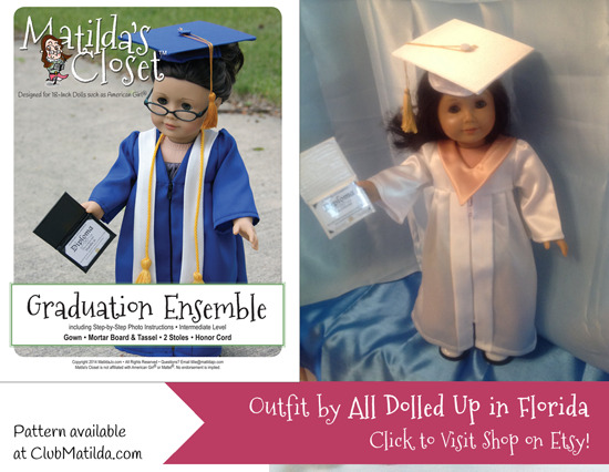 Doll Graduation Gown made using Matilda's Closet sewing pattern