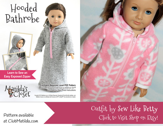 Doll bathrobe made using Matilda's Closet sewing pattern