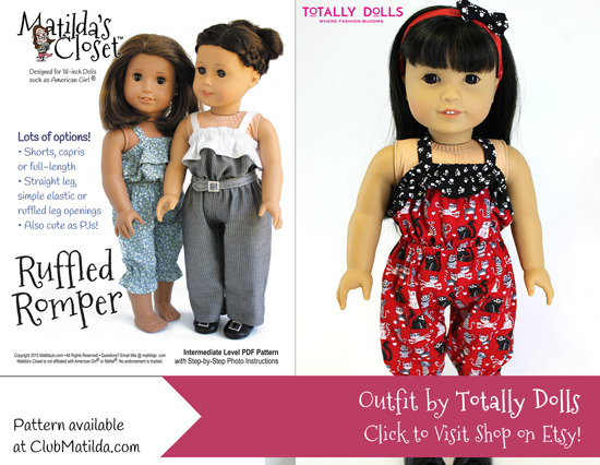 Doll romper made using Matilda's Closet sewing pattern