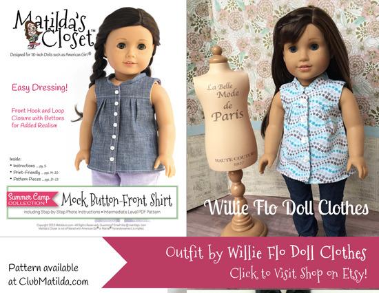 Doll shirt made using Matilda's Closet sewing pattern