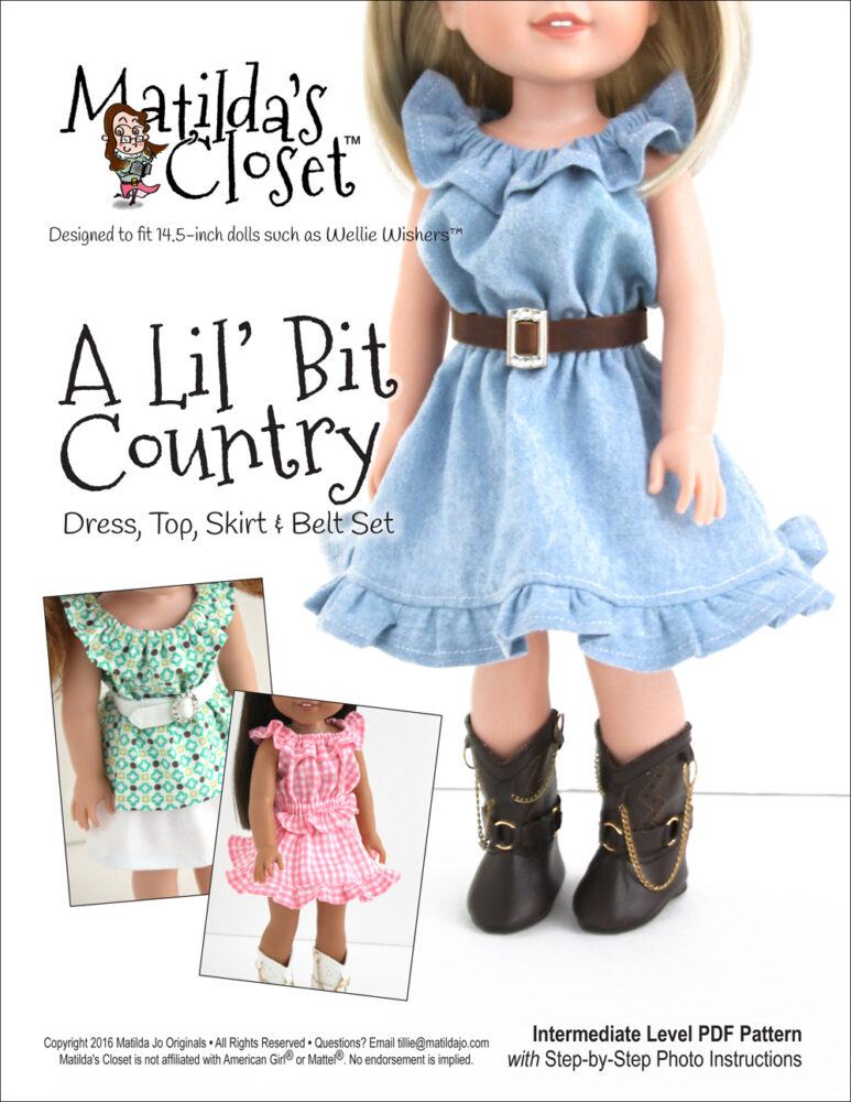 A Lil' Bit Country Dress, Top, Skirt & Belt Set pattern for 14.5-inch dolls such as WellieWishers™